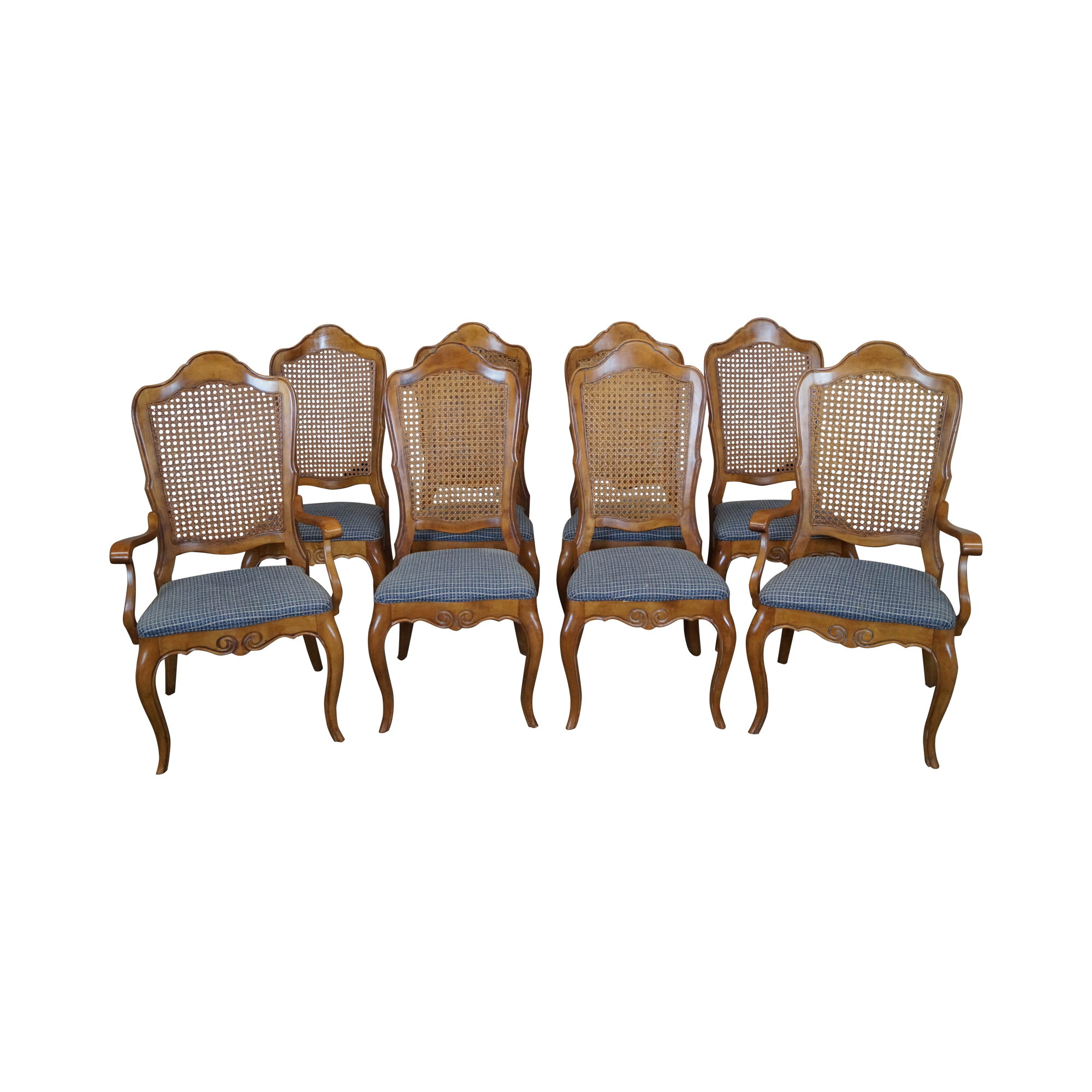 Ethan Allen Louis XV Cane Back Dining Chairs 8
