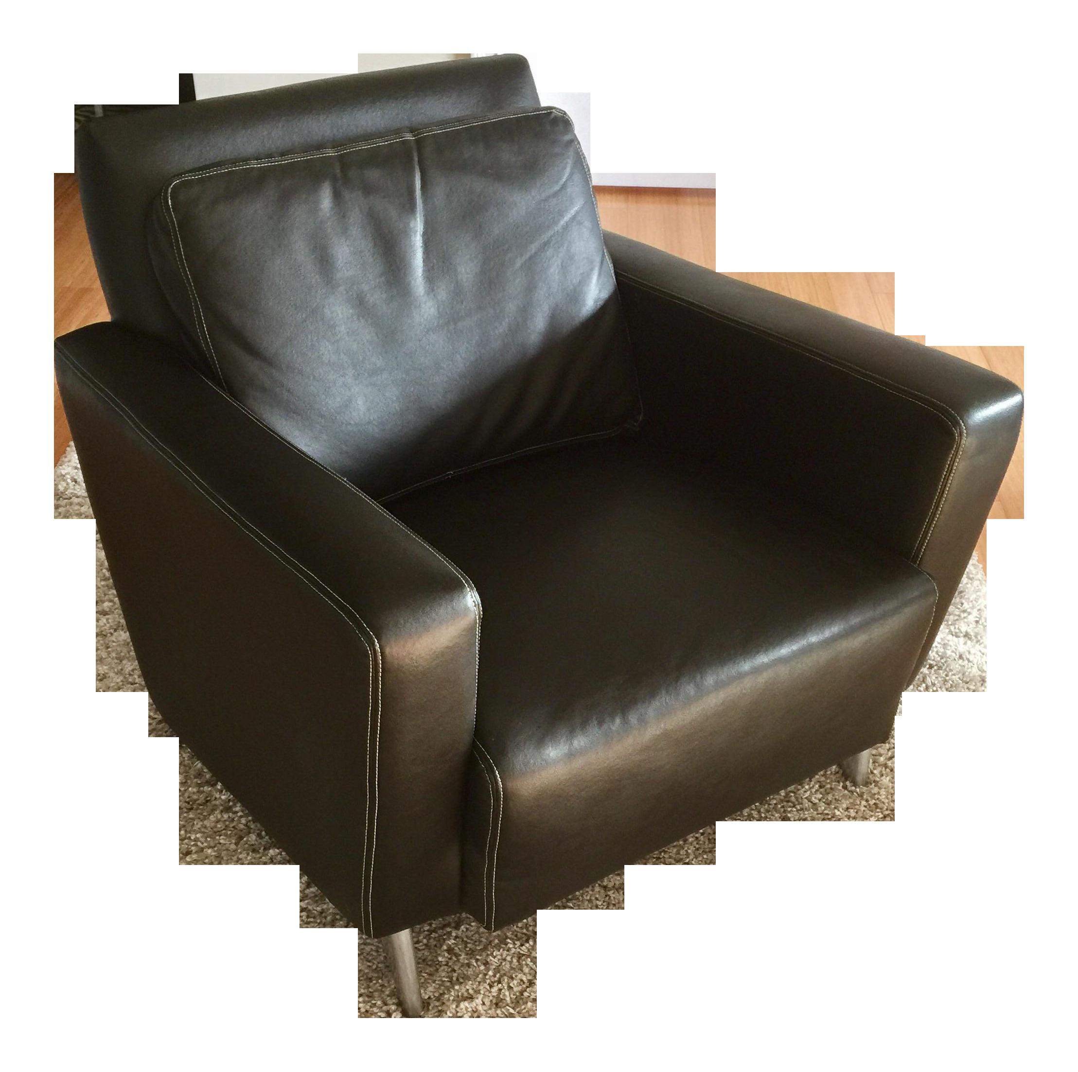 Jensen Lewis Black Genuine Leather Chair Chairish
