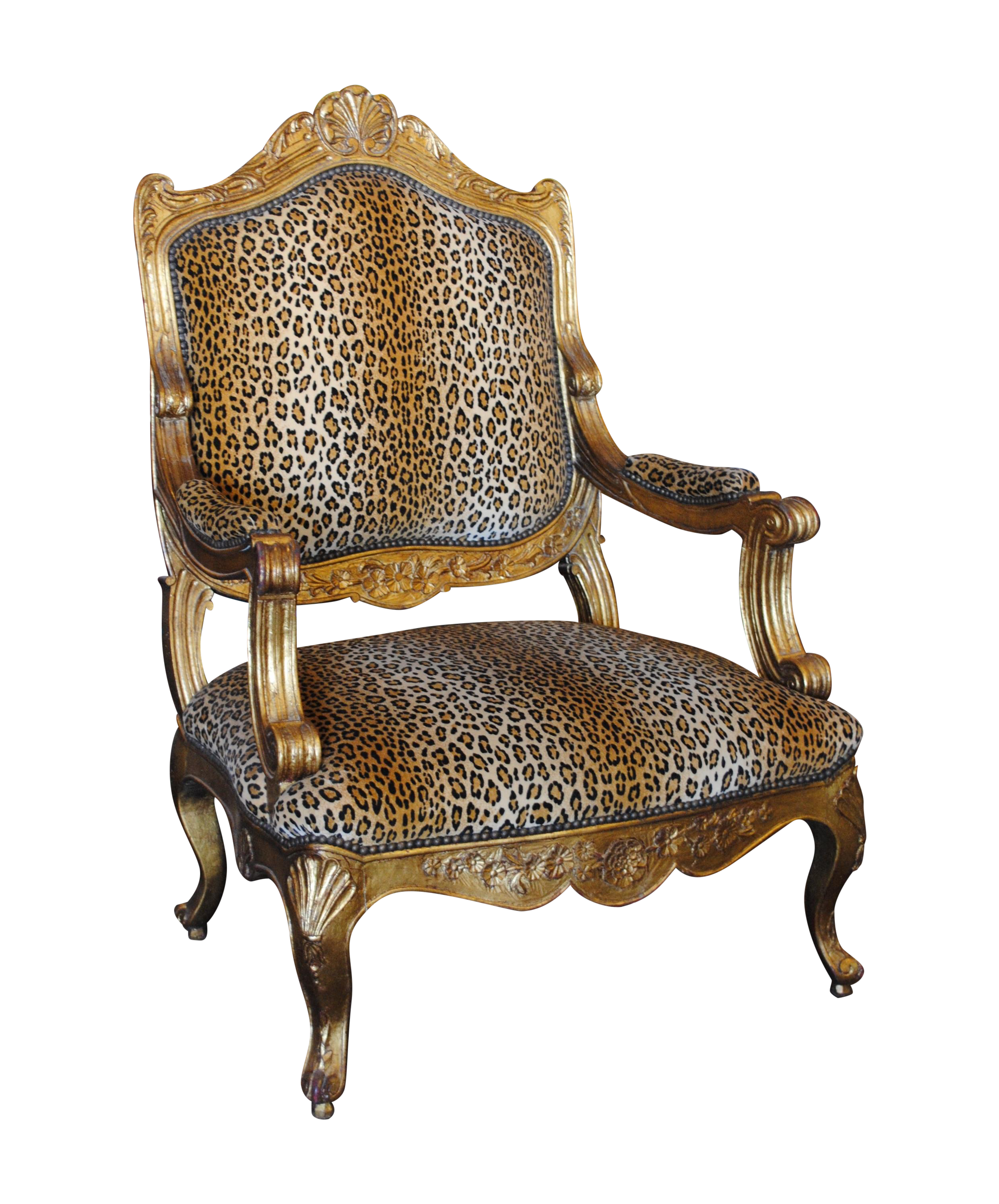Leopard armchair - Image Of French Louis Xv Style Giltwood Leopard Armchair