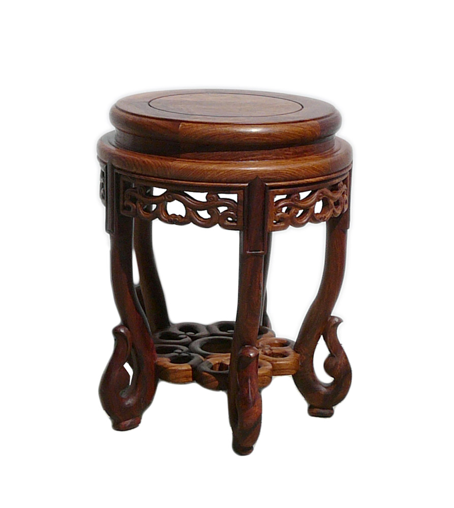 Chinese Huali Rosewood Round Scroll Leg Stool Chairish