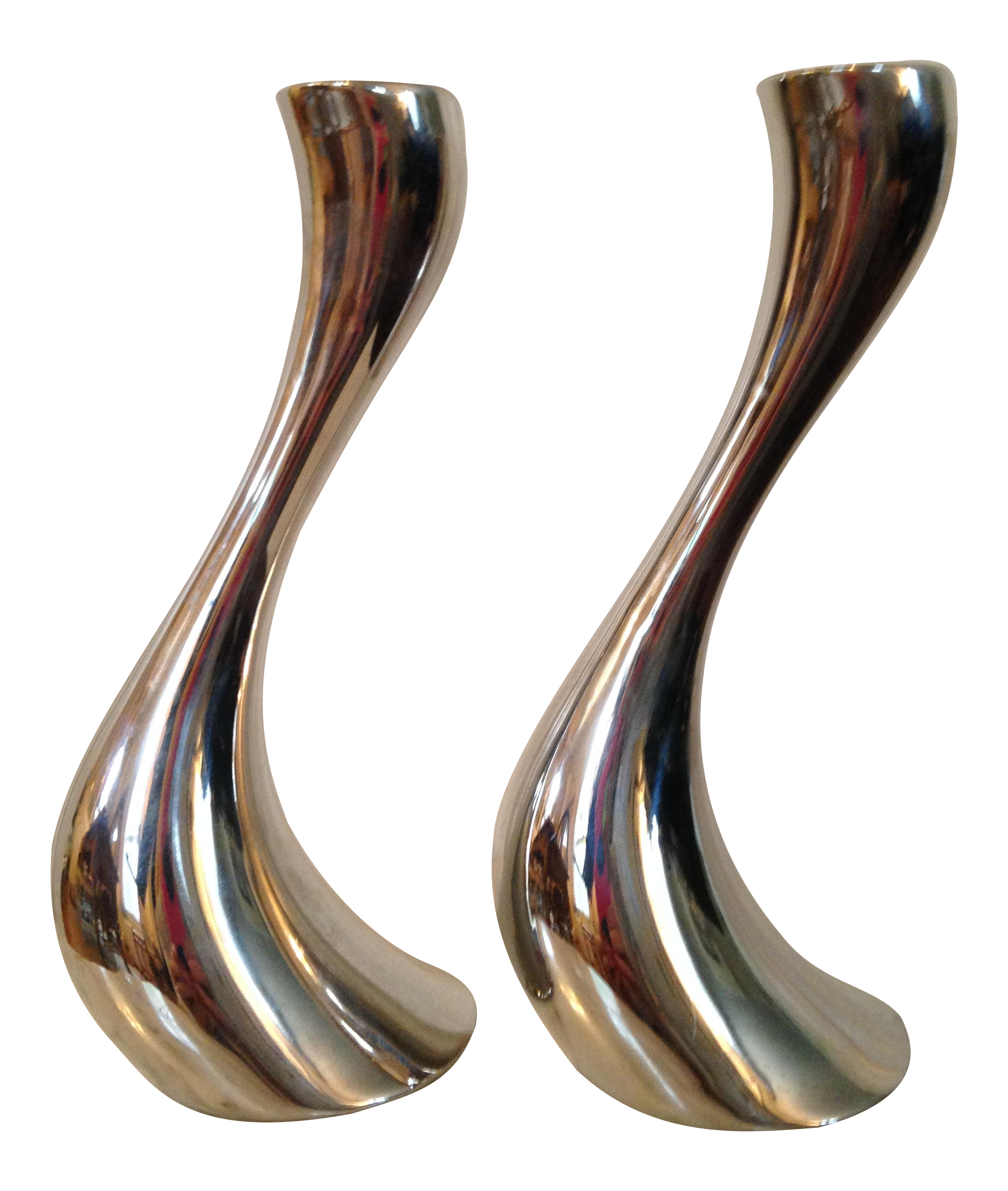 Georg Jensen Steel Cobra Candle Holders - A Pair | Chairish