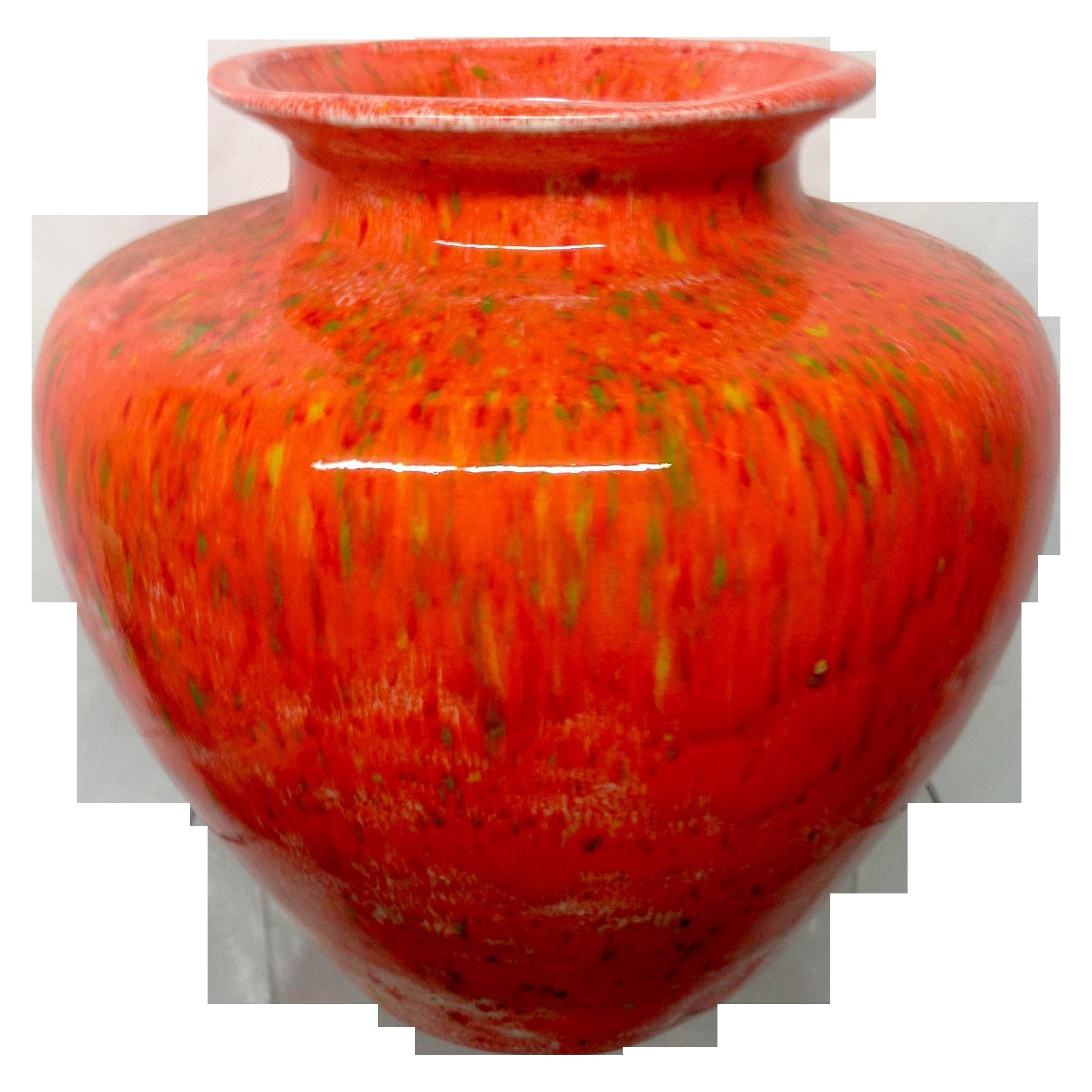 Large Orange Mid Century Ceramic Vase Chairish