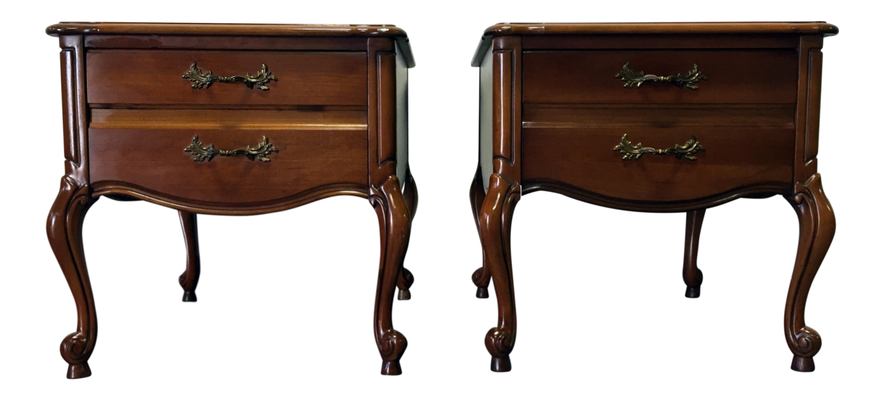 Lane Altavista Vintage French Provincial Style Cherry End Tables  A Pair |  Chairish