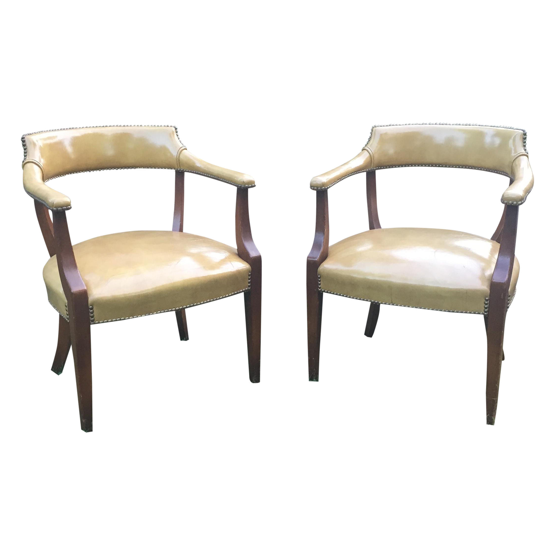 Vintage Hickory Leather Library Chairs A Pair