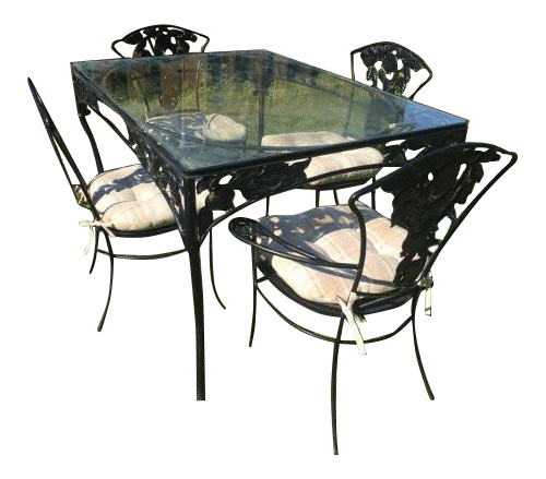 Image Of Vintage Woodard Wrought Iron Patio Set  Pomegranate Pattern  Table  U0026 4 Chairs