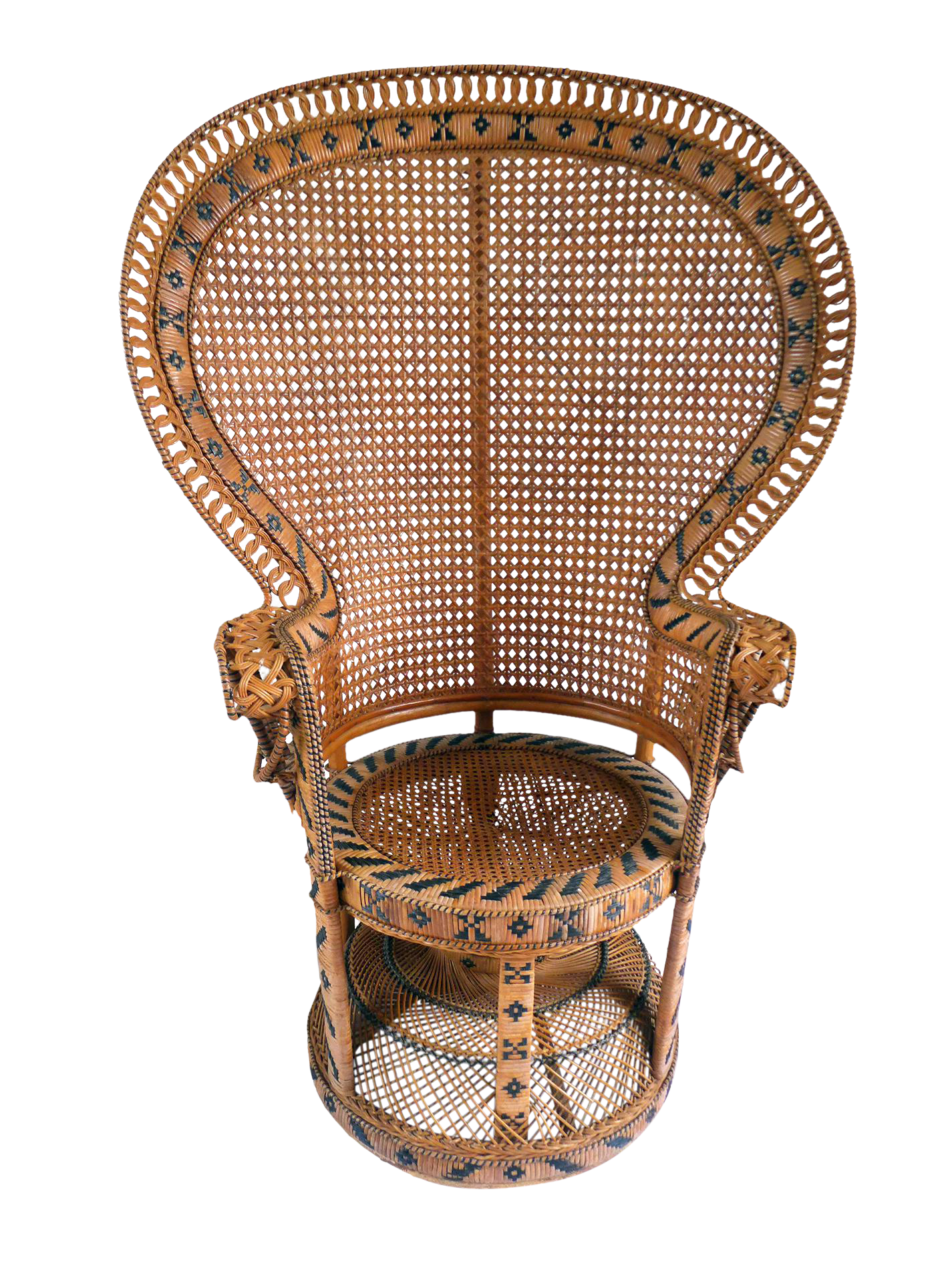 Vintage High Back Fan Peacock Rattan Chair Chairish