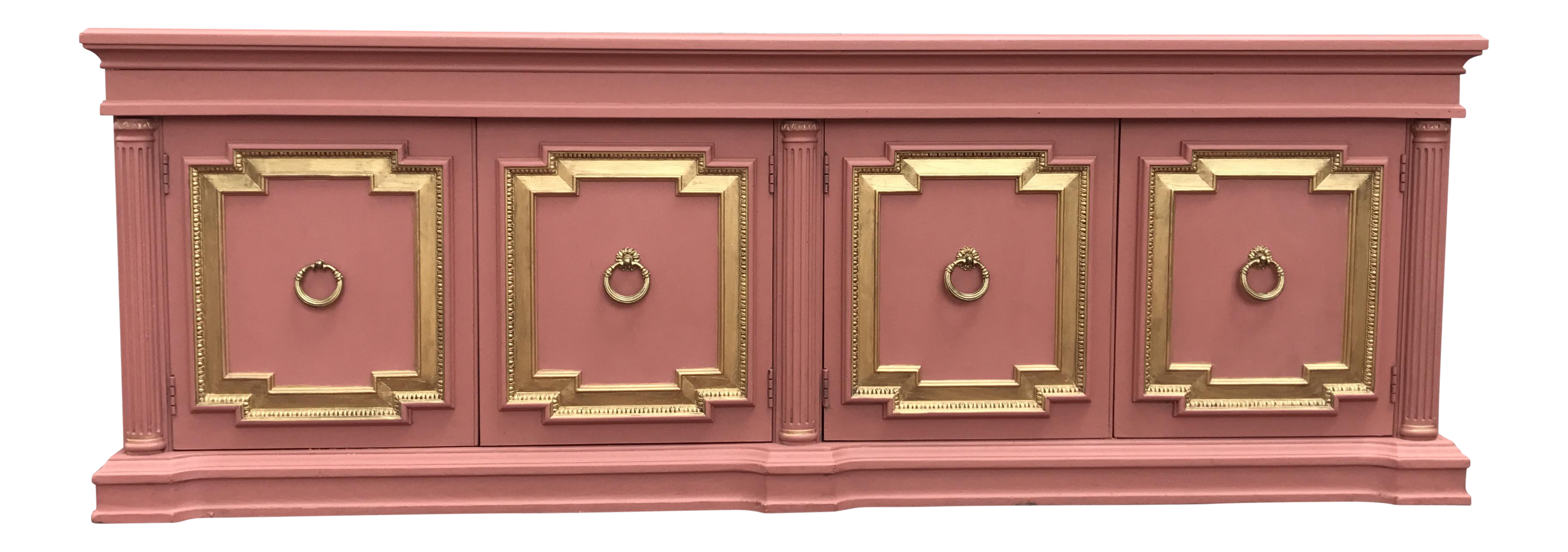 Hollywood Regency Style Pink Gold Mid Century Credenza