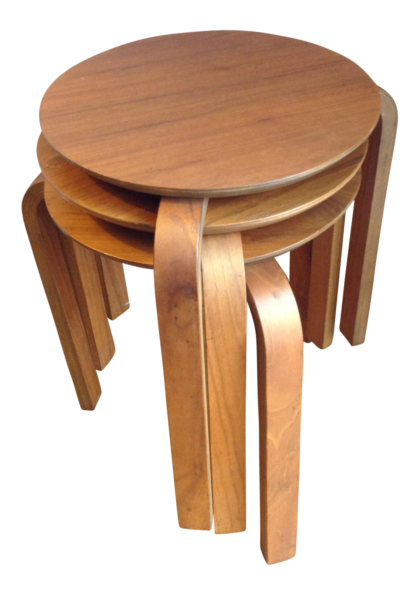 Mid century modern danish stacking side tables set of 3 for Small stackable coffee tables