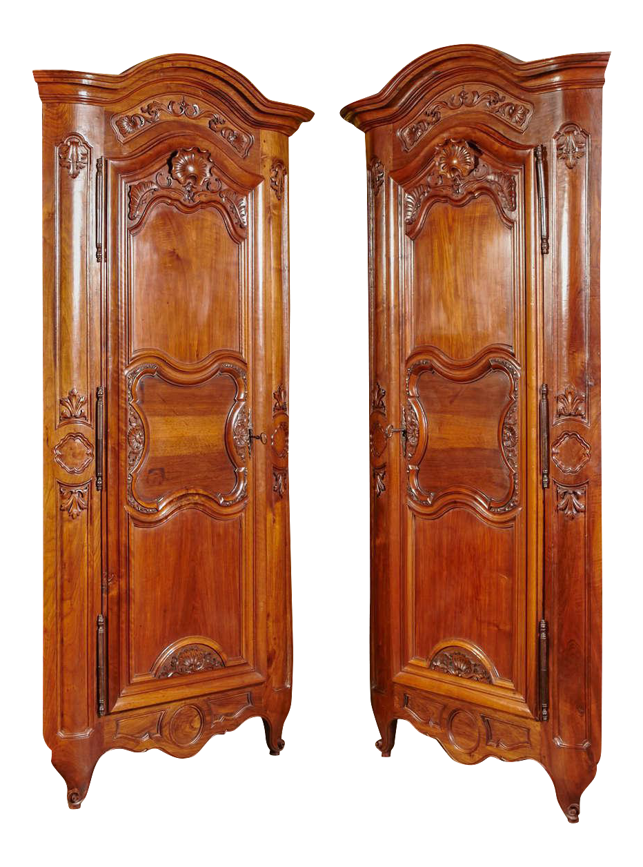 pair of 18th century louis xv walnut carved doors corner cabinets from lyon chairish. Black Bedroom Furniture Sets. Home Design Ideas