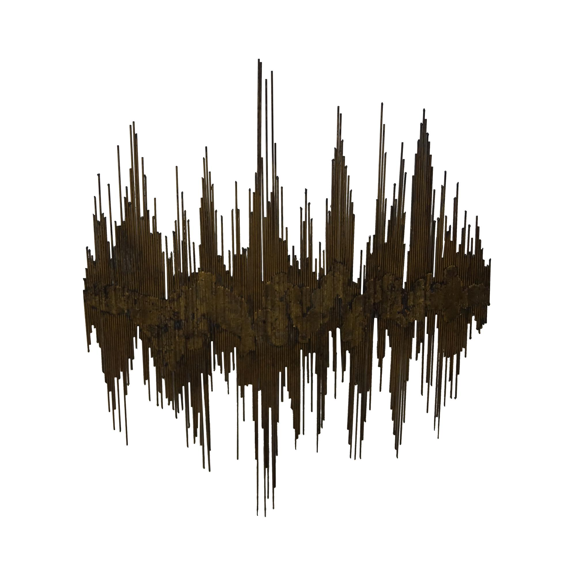 image of midcentury u0027sound wavesu0027 metal wall sculpture