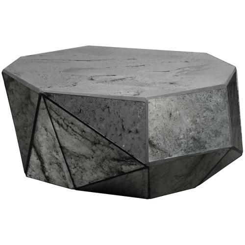 Faceted Copper Coffee Table: Faceted Mirrored Coffee Table