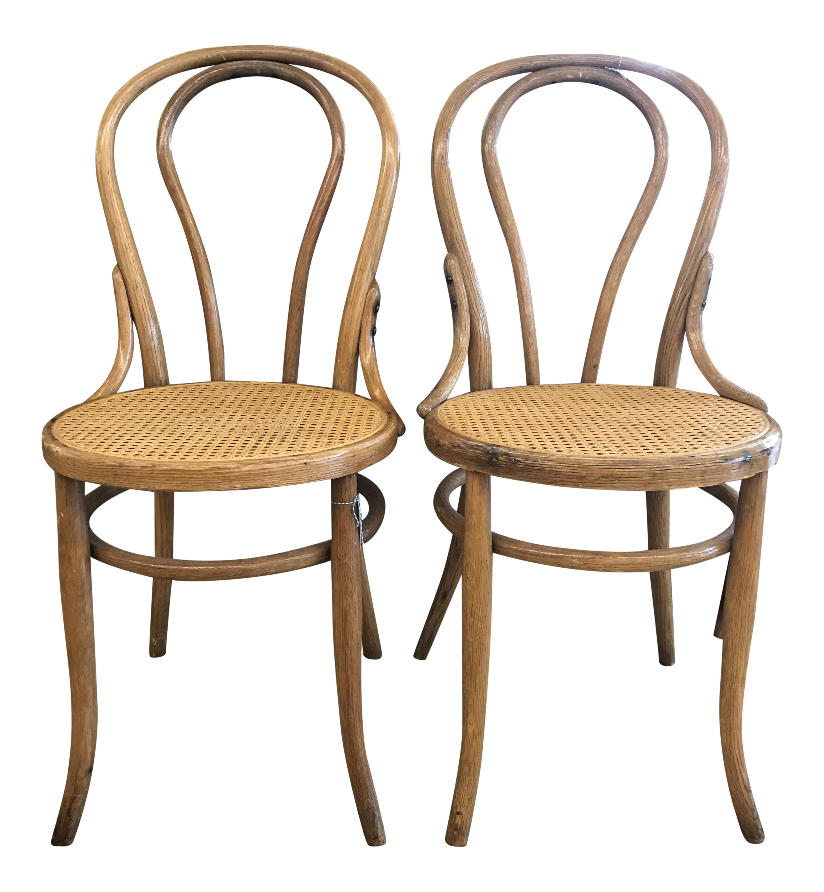 Cane seat bistro chairs in the style of michael thonet a pair chairish - Cane bistro chairs ...