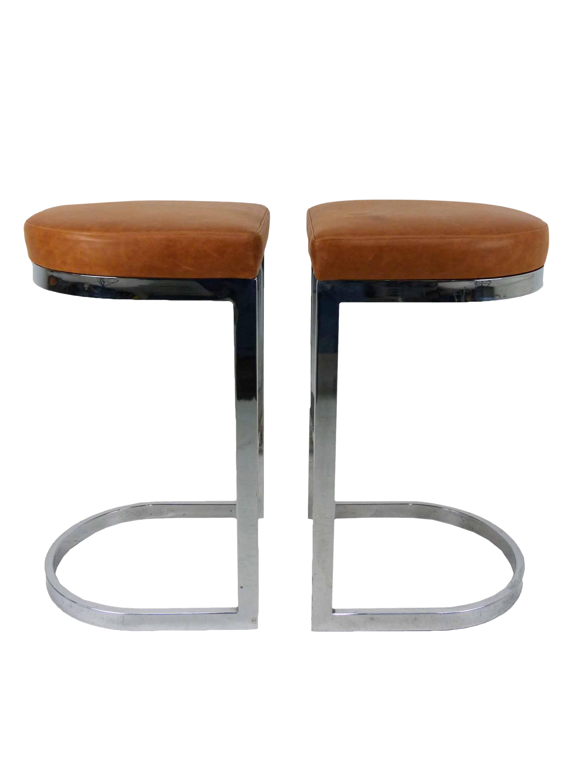 Milo Baughman Style Flat Bar Chrome Cantilever Bar Stools - A Pair  sc 1 st  Chairish : chrome and leather bar stools - islam-shia.org