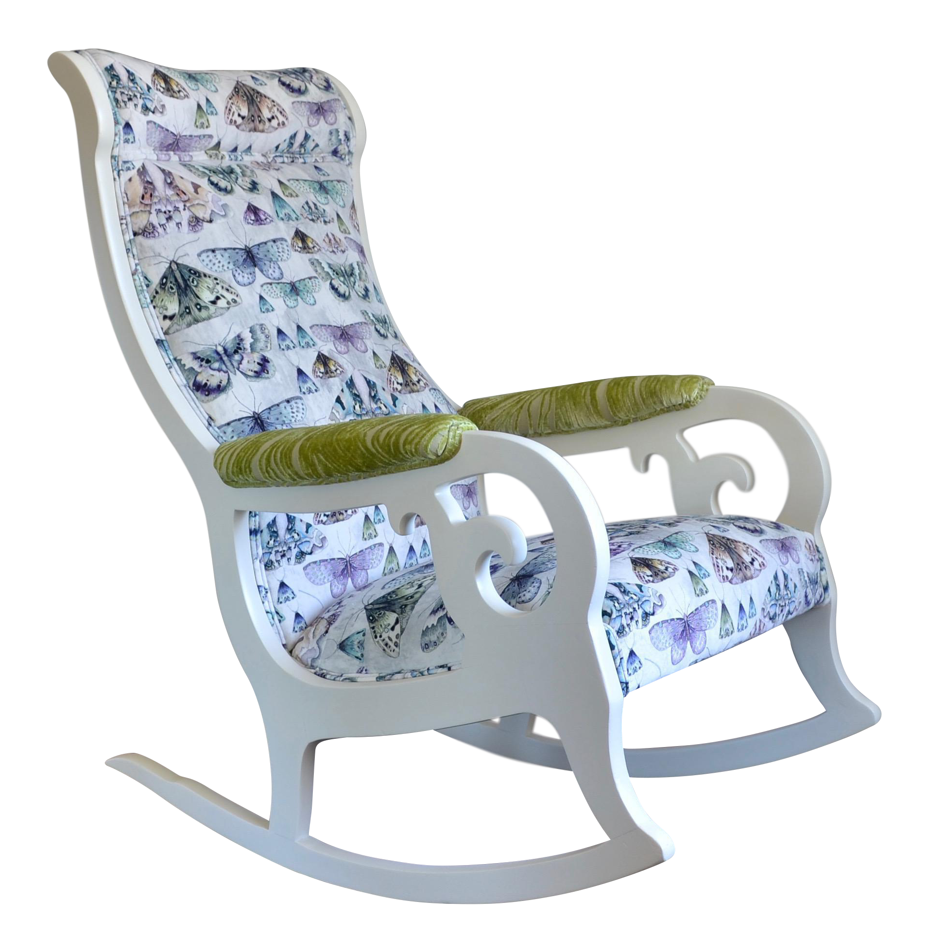 Antique upholstered rocking chairs - Image Of Upholstered Wood Rocking Chair In Antique White With Butterfly Velvet