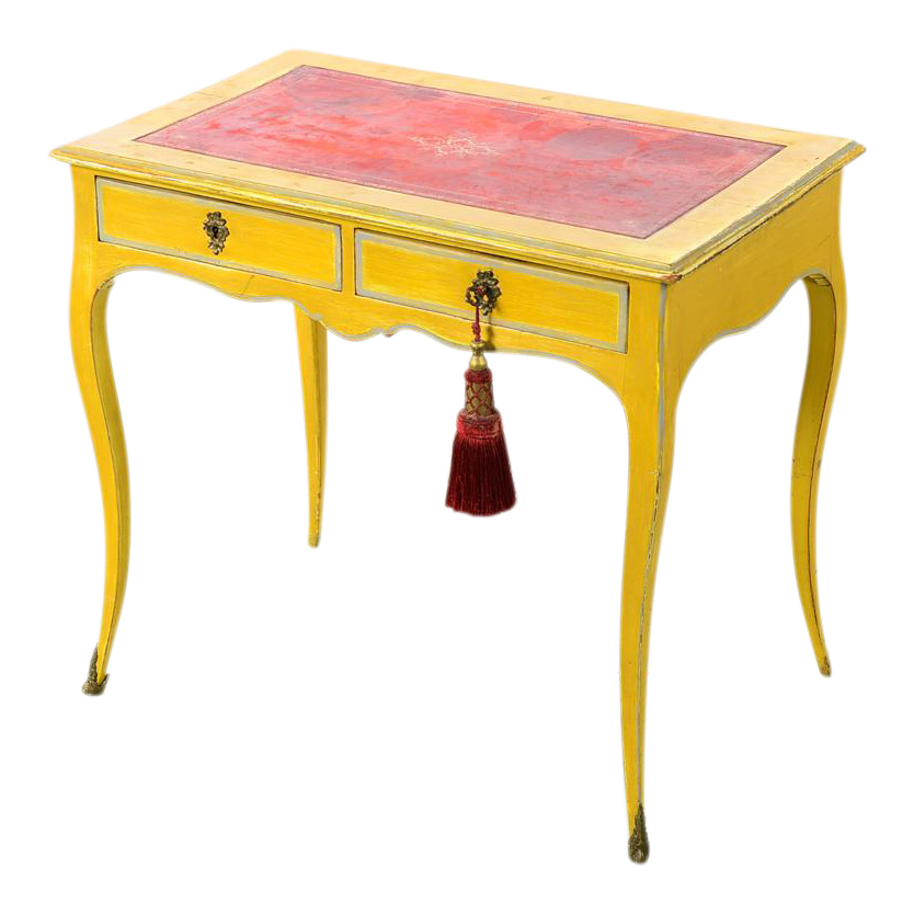 19th century venetian painted petite ladies desk w red leather top