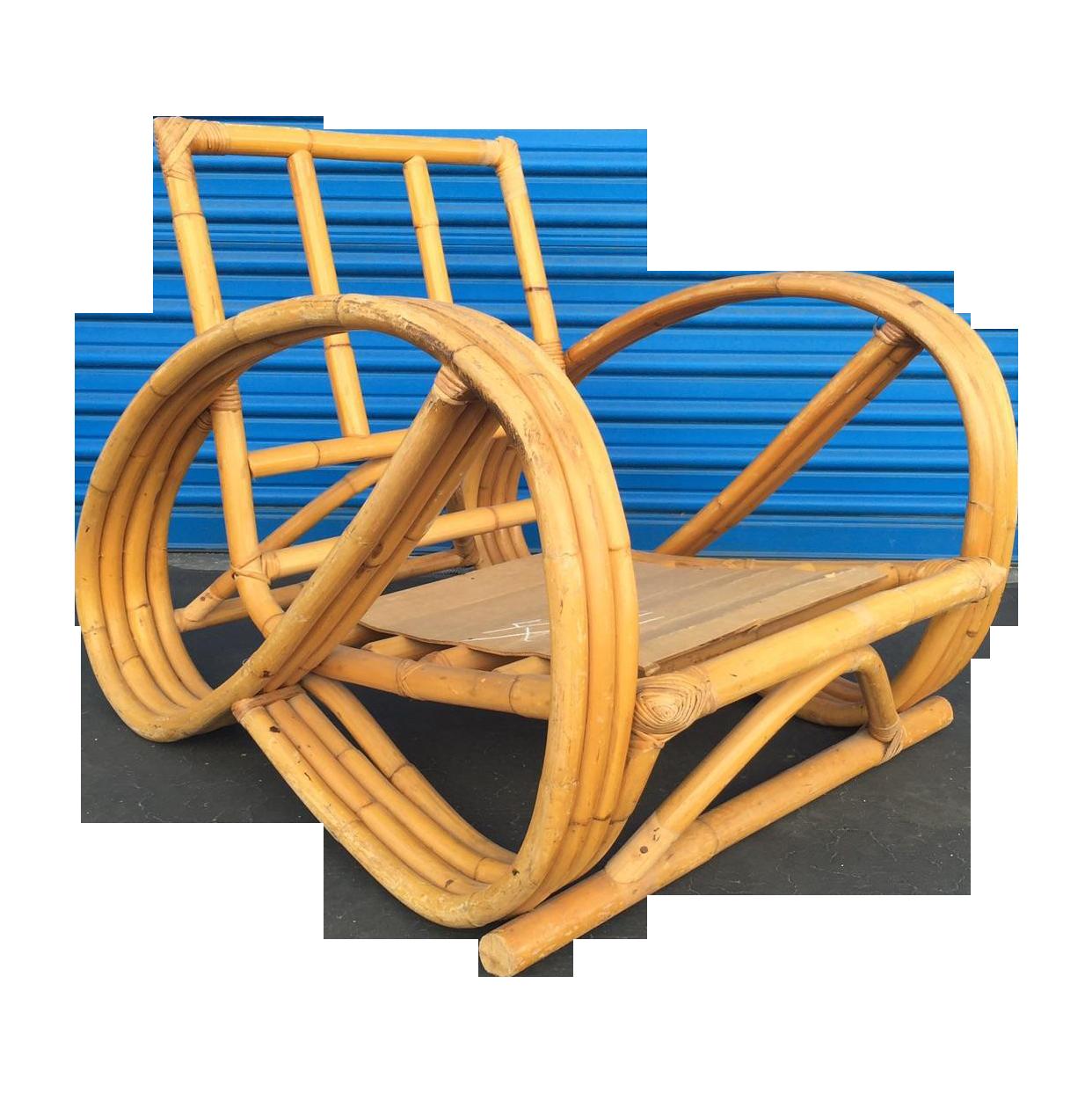 Heywood Wakefield Curved Arm Rattan Lounge Chair  Chairish