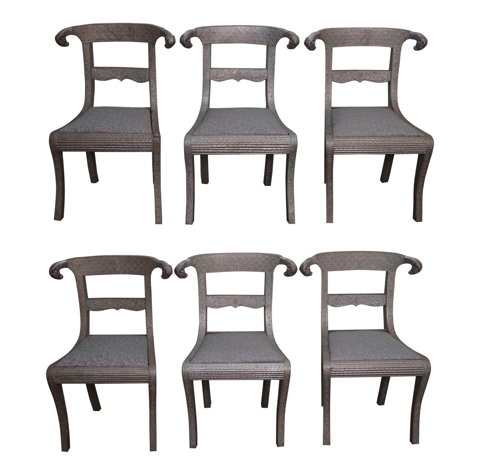 Embossed metal rams head regency dining chairs 6 chairish for Dining room head chairs