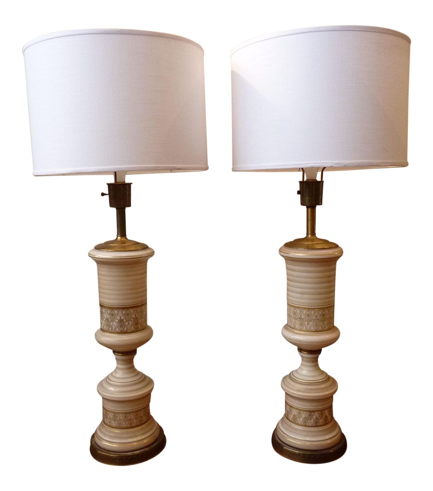 vintage regency white gold table lamps a pair chairish. Black Bedroom Furniture Sets. Home Design Ideas