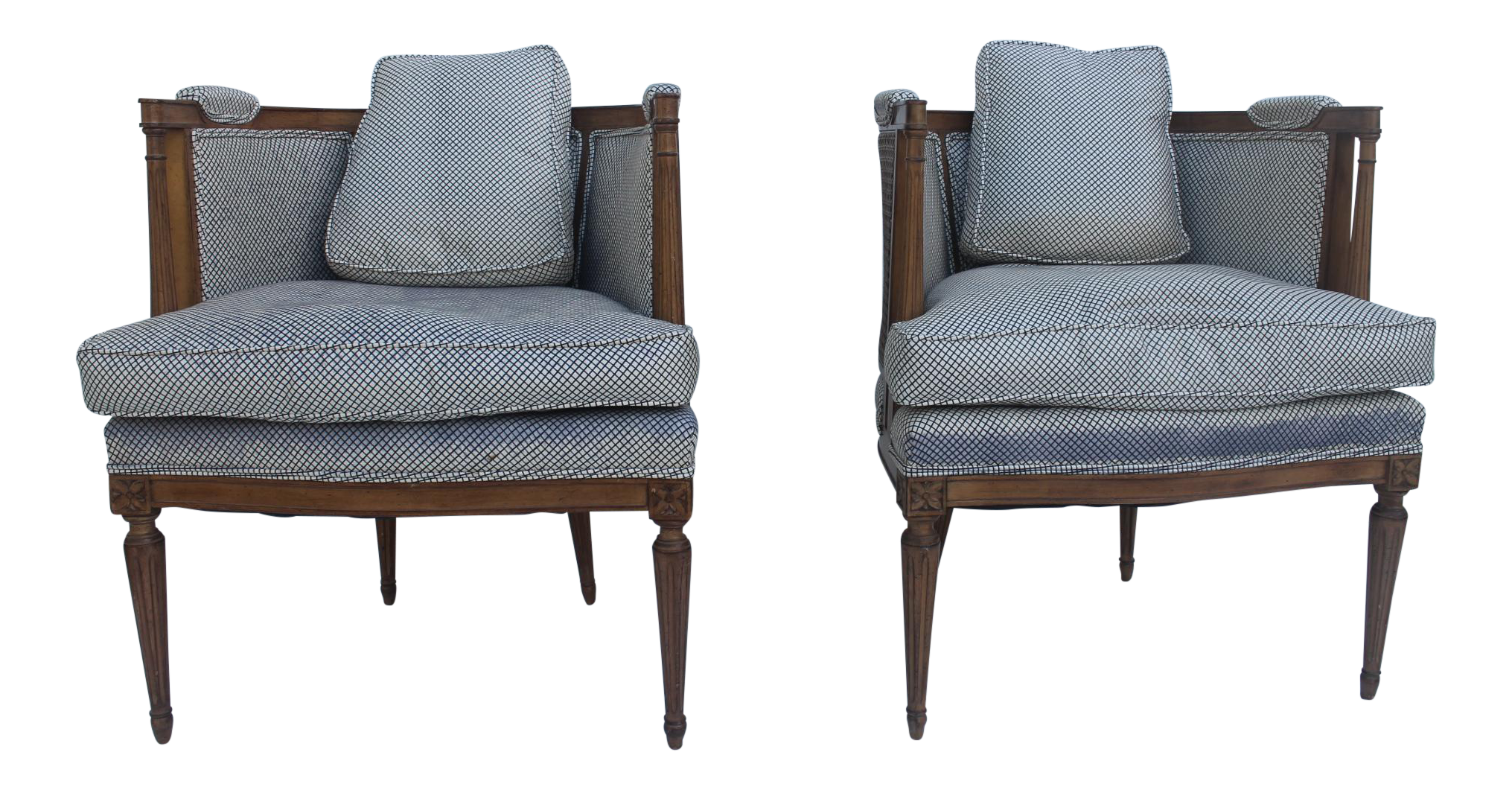 French Hollywood Regency Cane Back Barrel Accent Chairs Pair