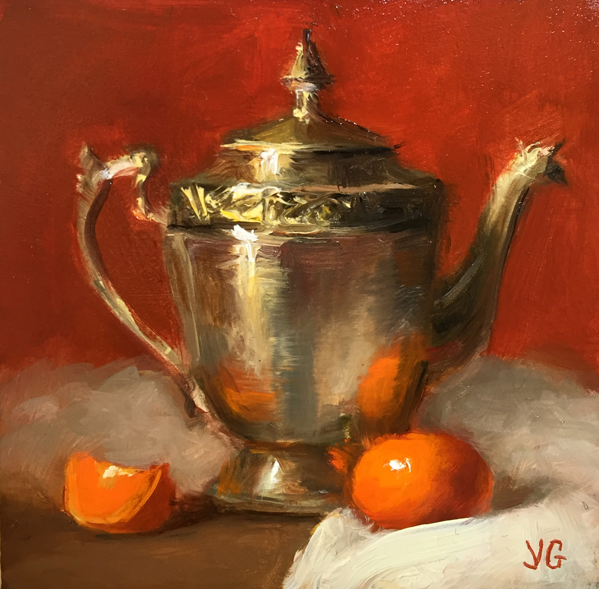 Still Life With Metal Pitcher And Tangerine Chairish