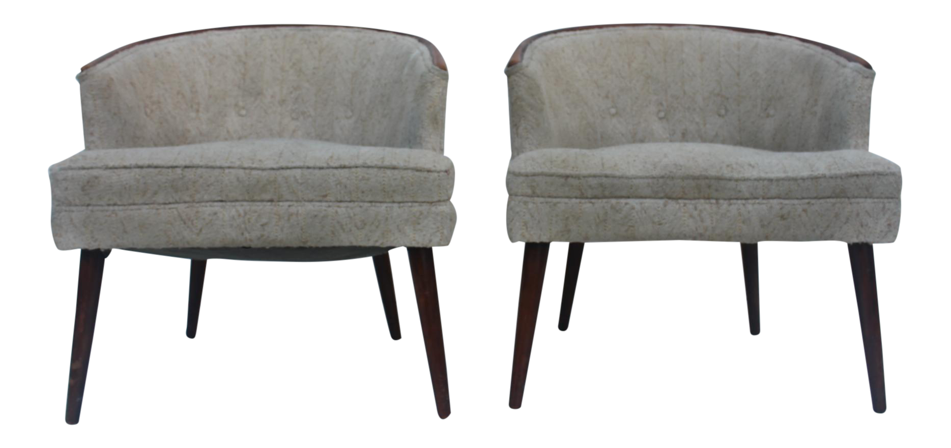 Vintage Mid Century Modern Barrel Back Lounge Club Chairs A Pair