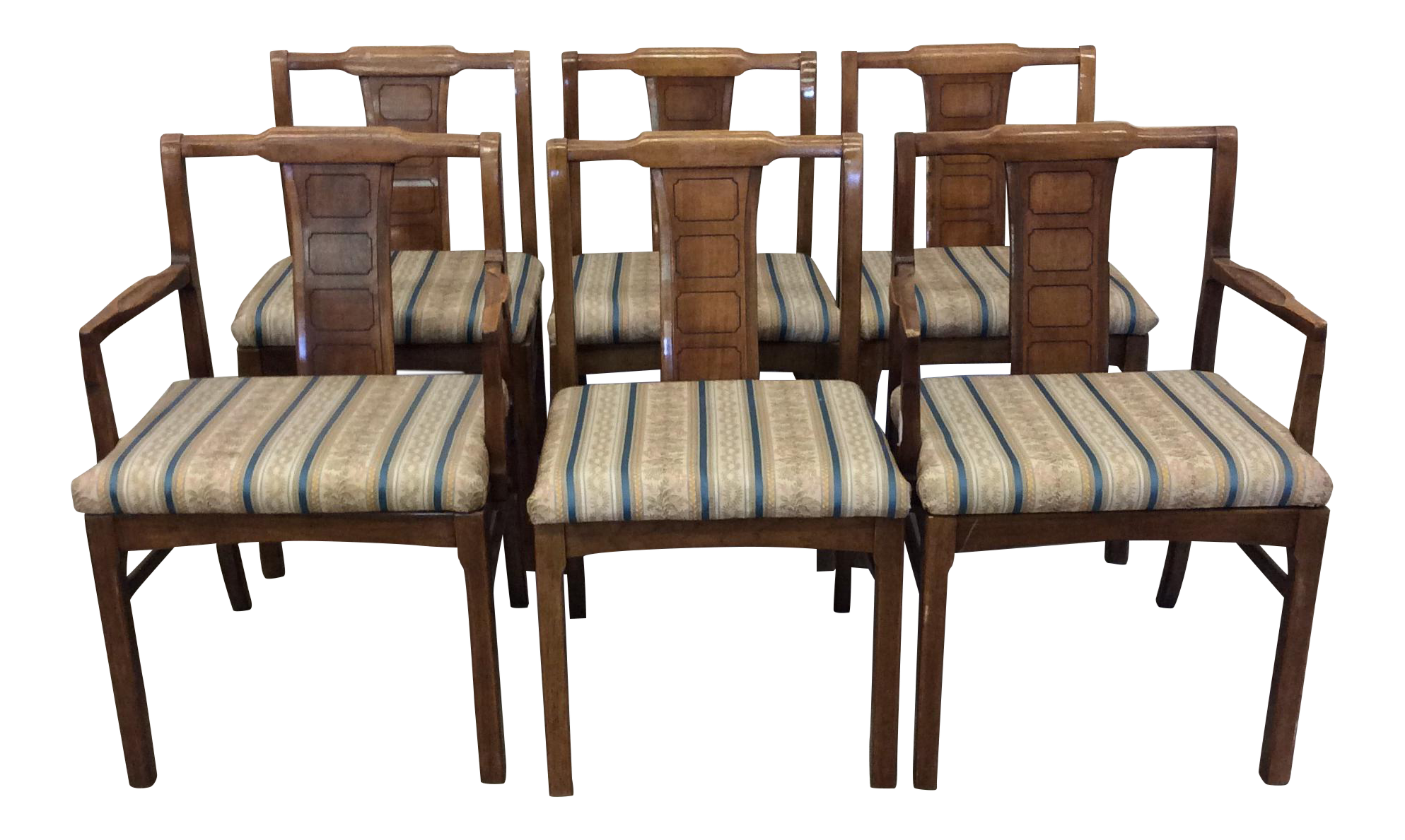 Mid Century Modern Walnut Low Back Dining Chairs Set of 6