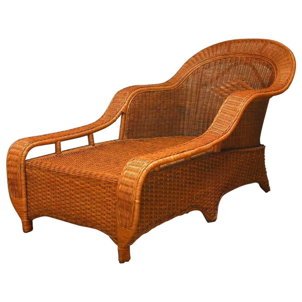 Palecek french style wicker chaise lounge chairish for Bamboo chaise lounge