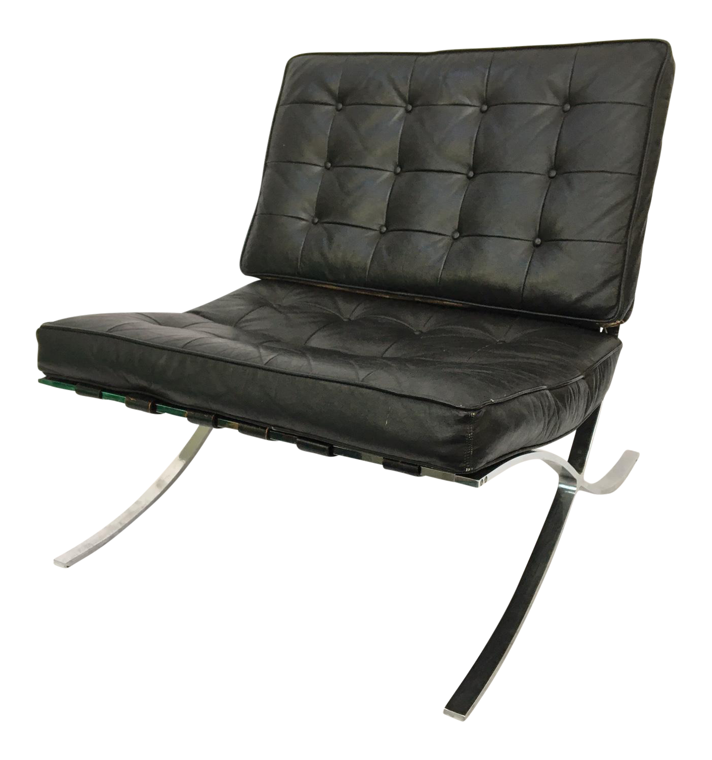 black leather barcelona chair after ludwig mies van der rohe chairish. Black Bedroom Furniture Sets. Home Design Ideas
