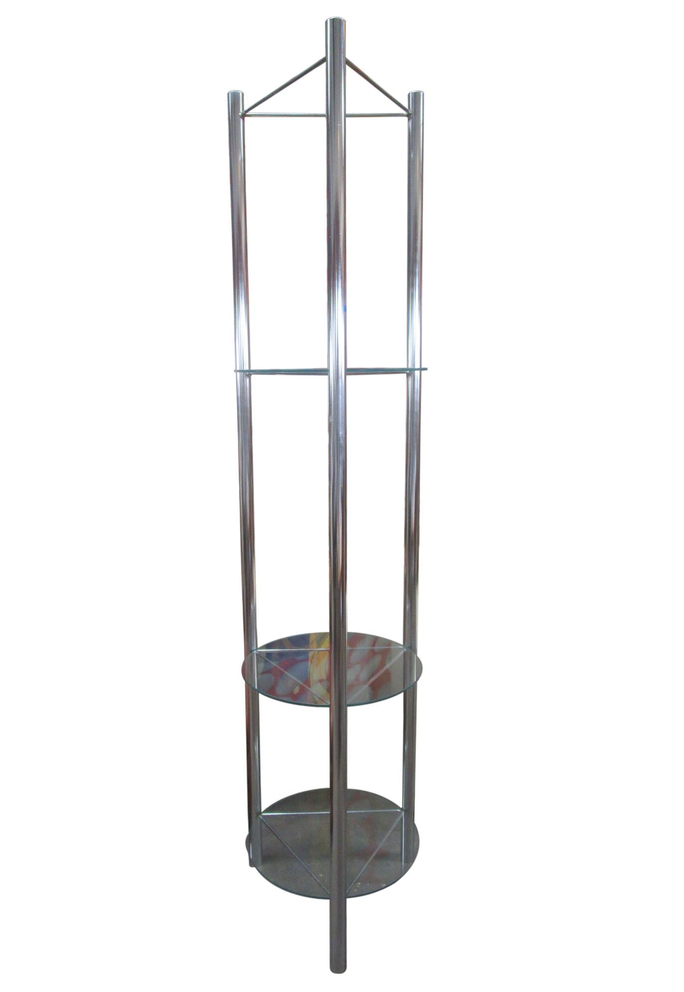 Mid century chrome etagere with triangular shelves chairish - Triangular bookshelf ...