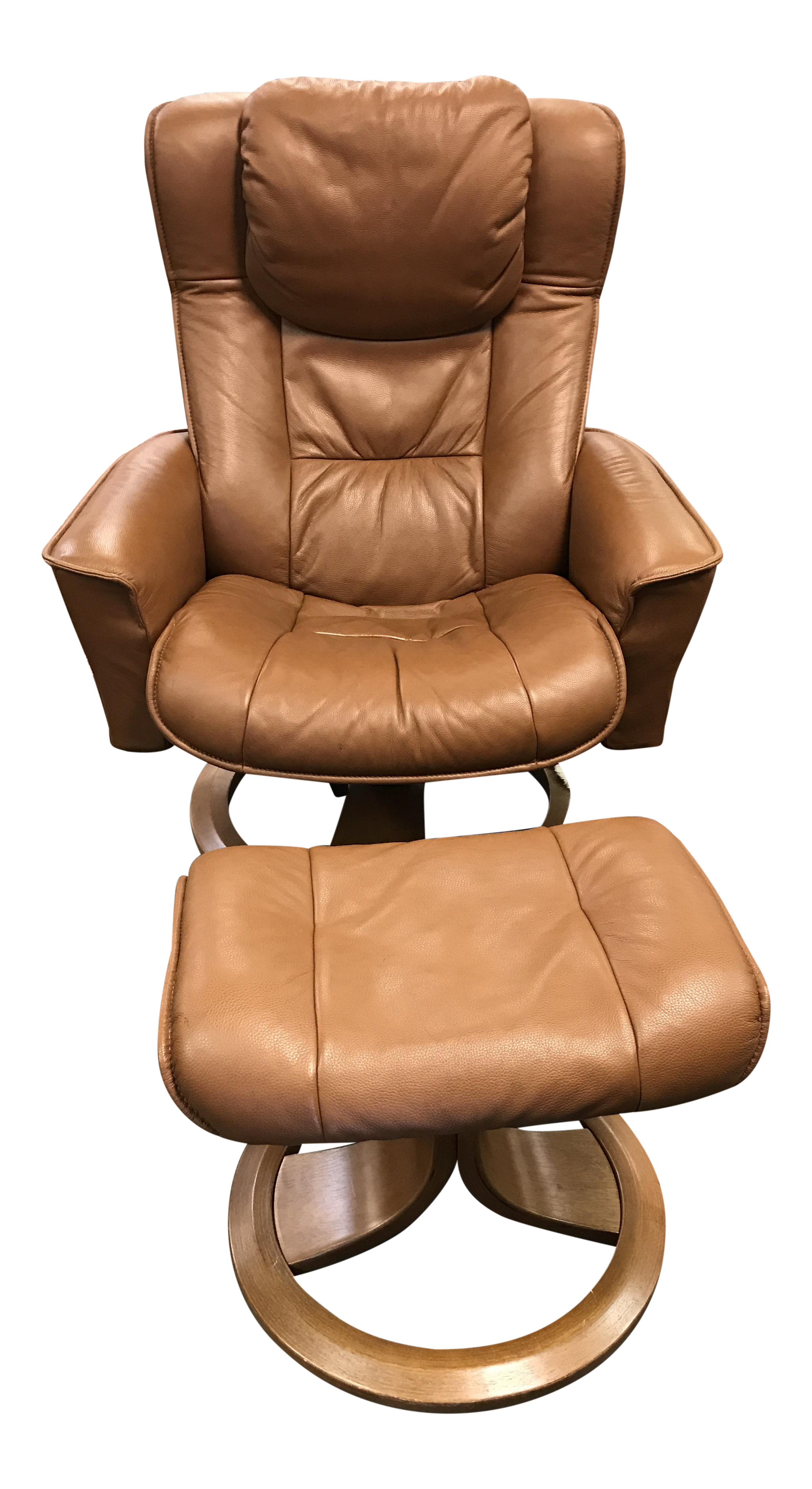 eames style brown leather lounge chair with foot stool chairish