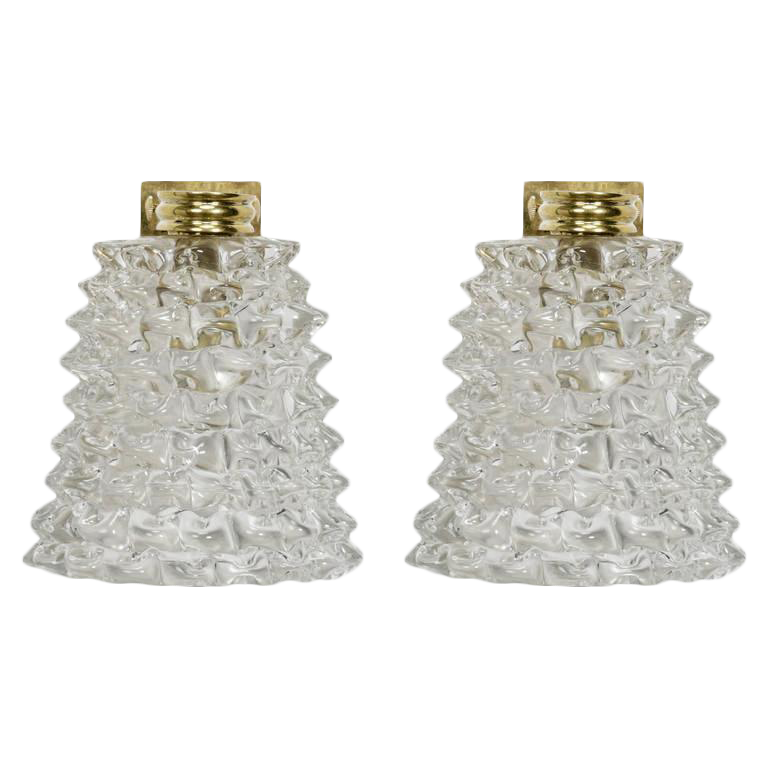 Mid century murano bubble glass and brass sconces a pair for Transparent glass wall