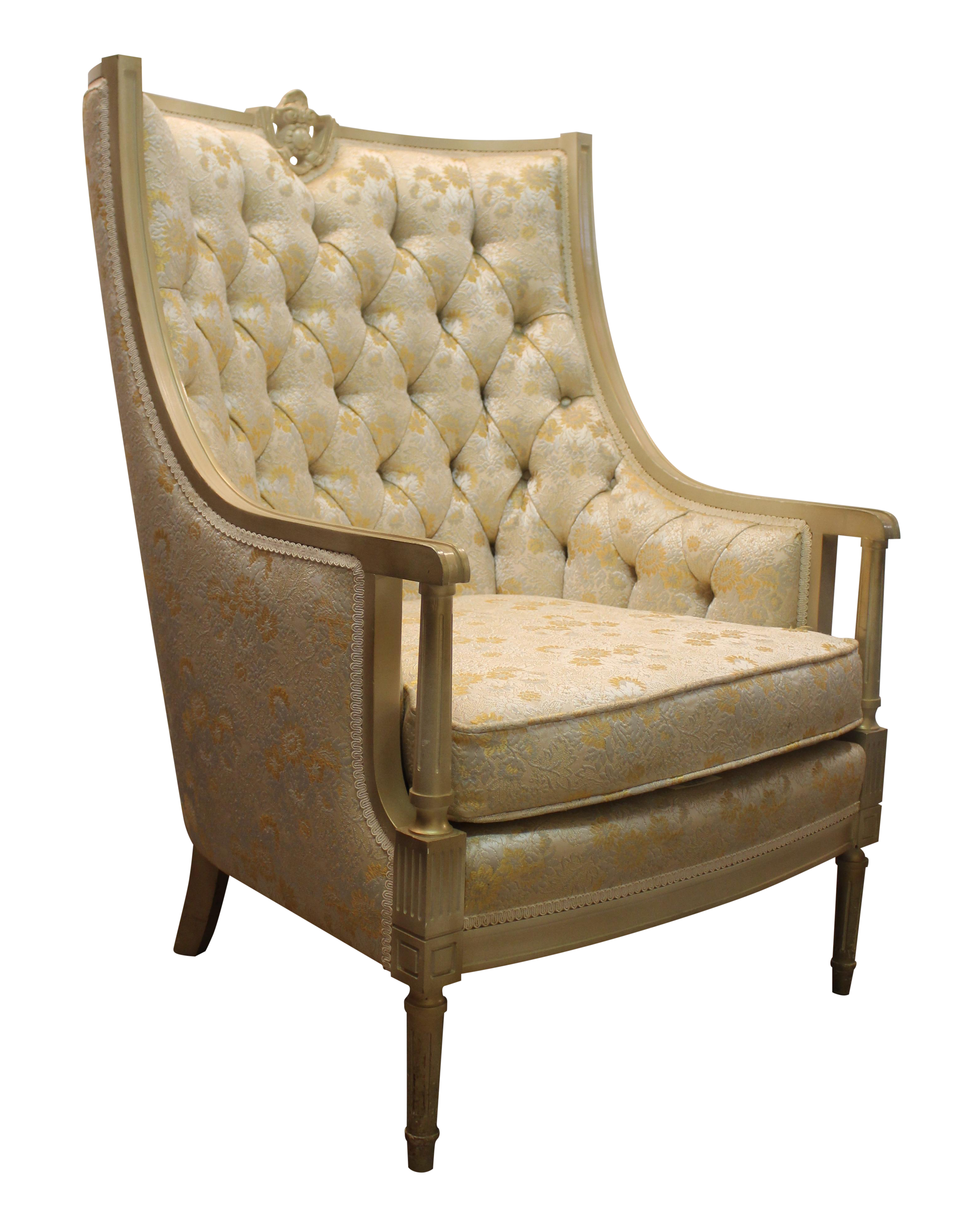 Vintage Tufted Back Louis XV French Bergere Chair