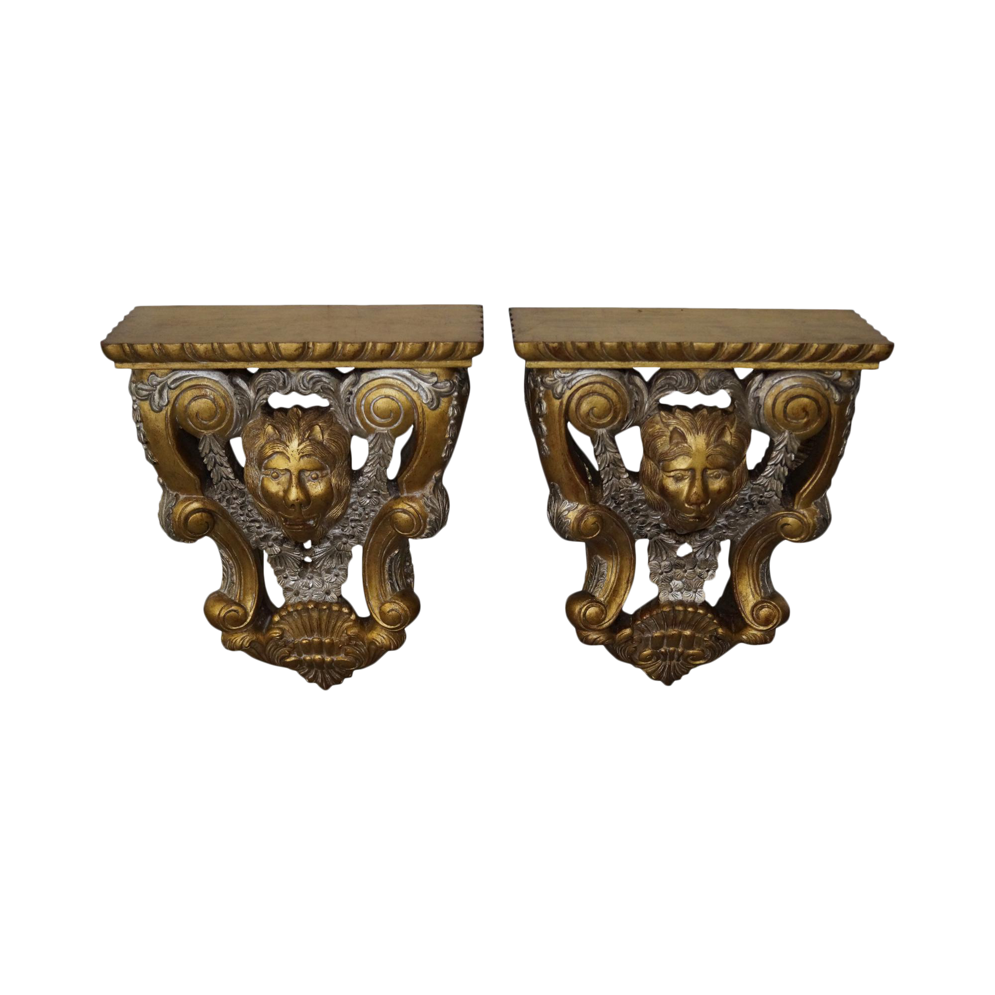 Maitland Smith Lion Carved Gilt Wall Shelves A Pair