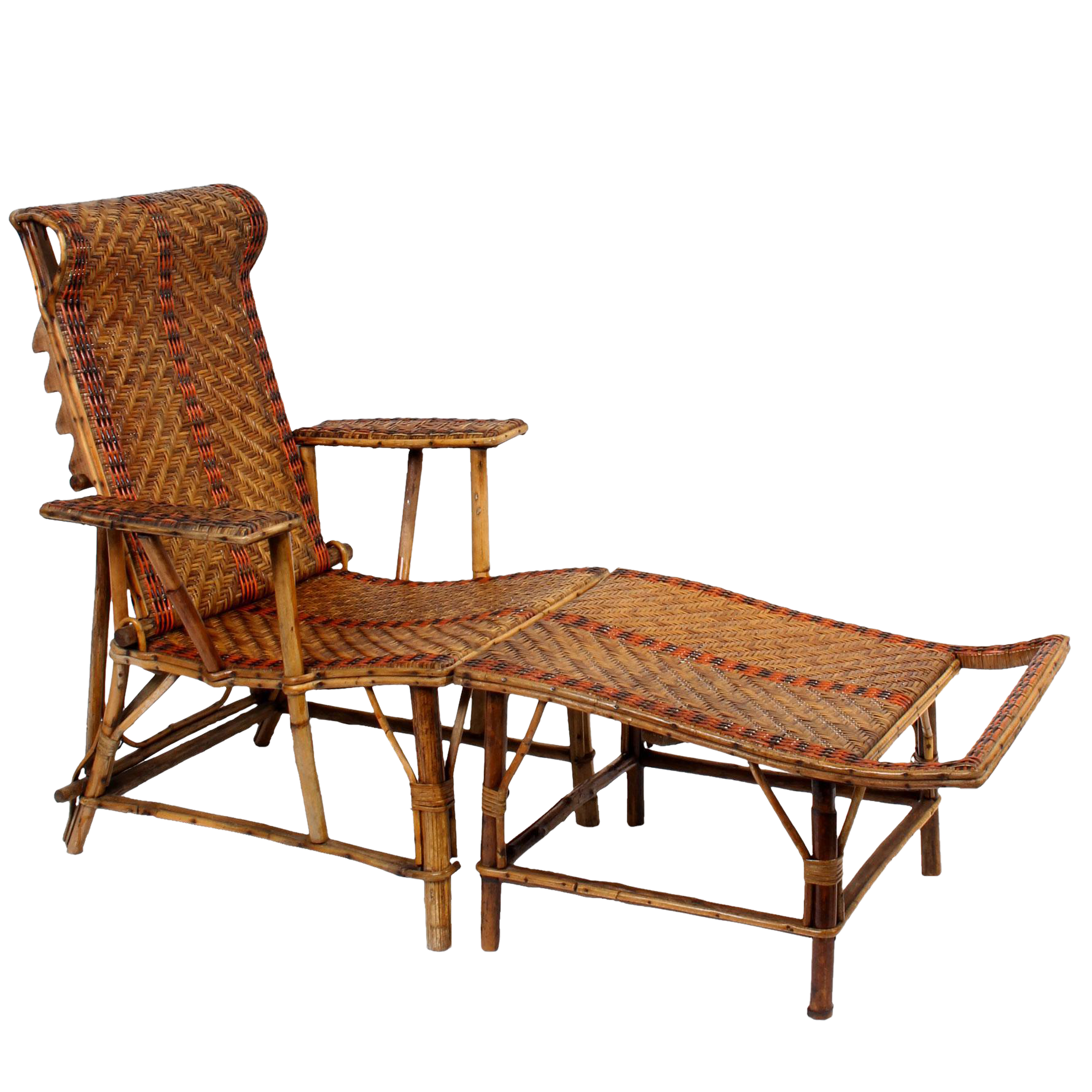 Vintage french bamboo rattan chaise lounge chairish for Antique wooden chaise lounge