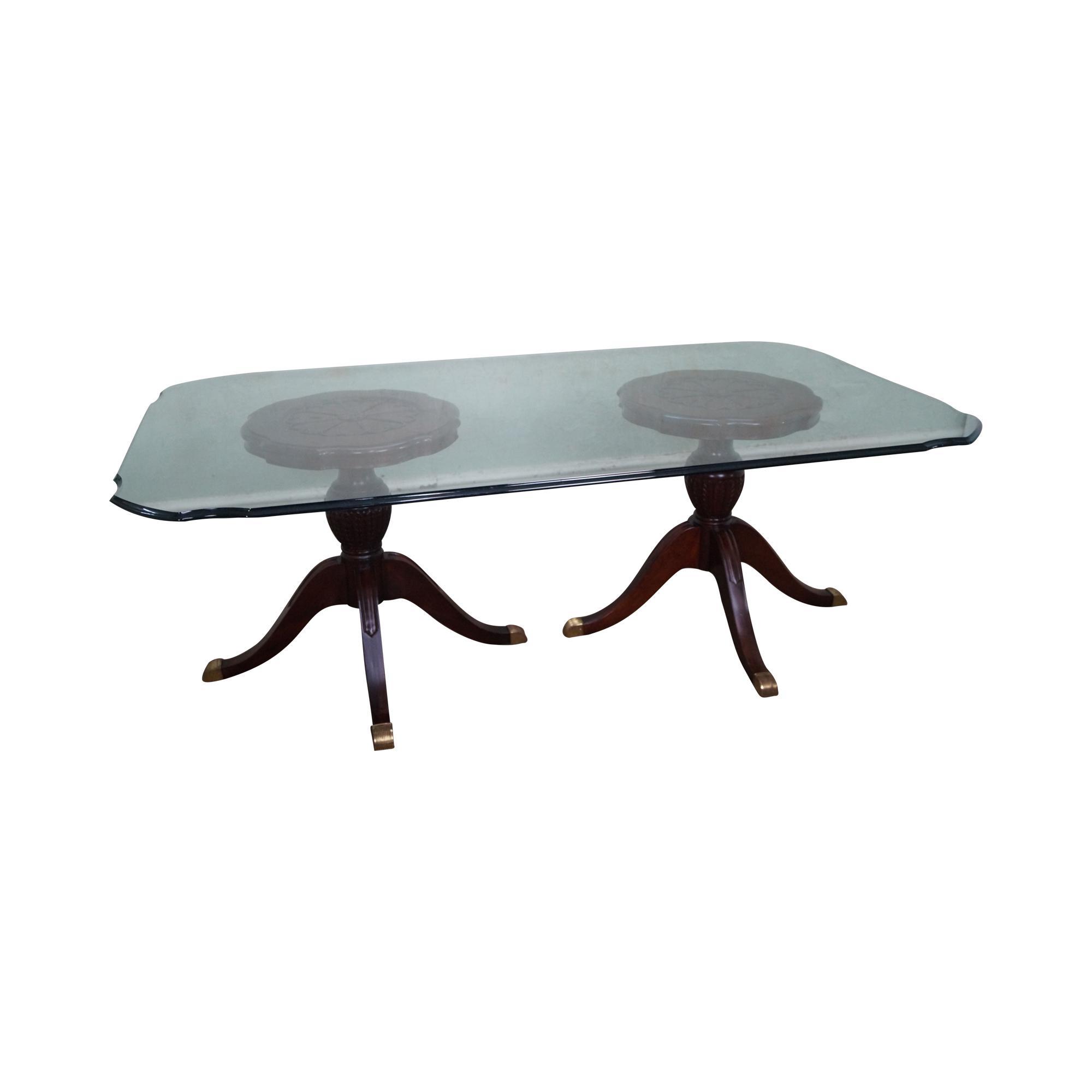 Duncan Storage Coffee Table: Maitland Smith Glass & Mahogany Duncan Phyfe Dining Table