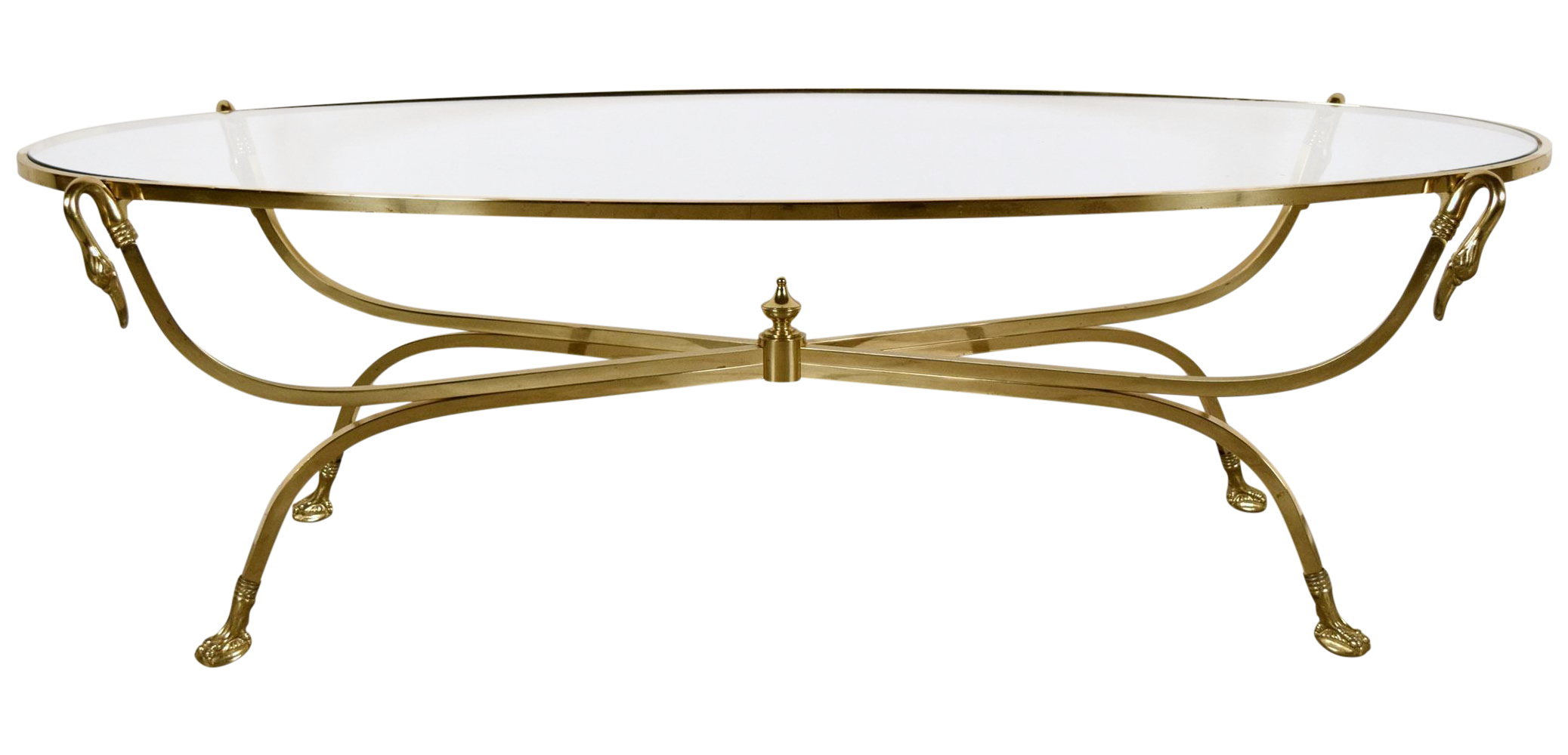 oval hollywood regency brass coffee table | chairish