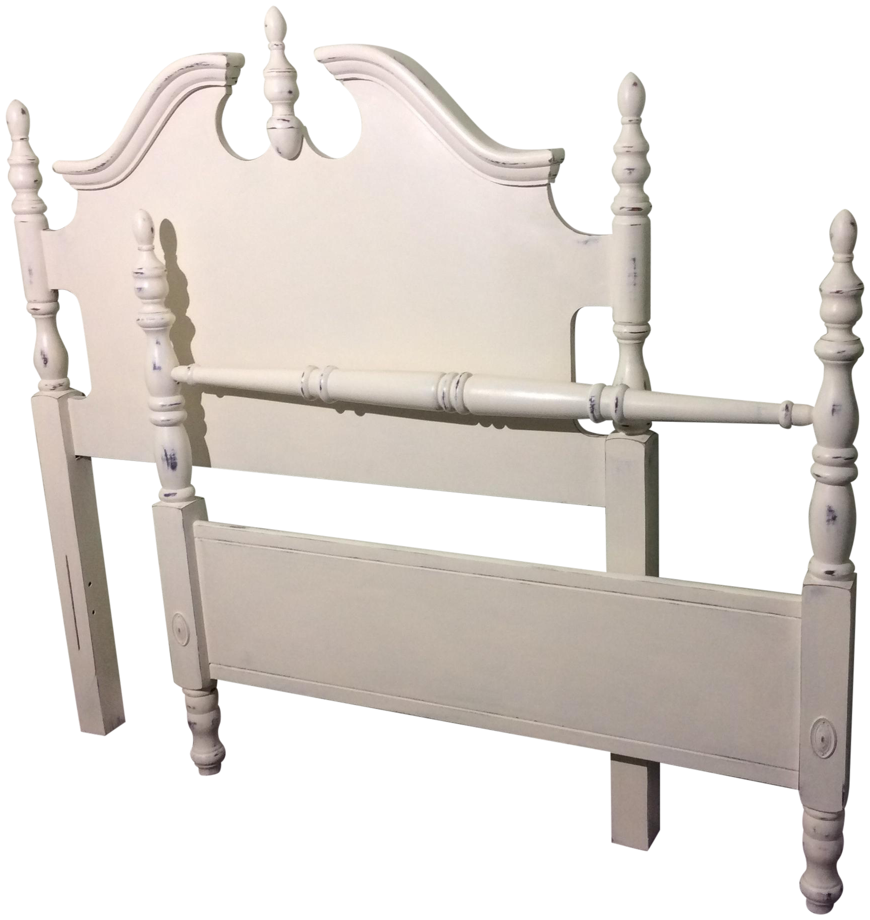 White chalk painted twin bed frame chairish - Design within reach bed frame ...