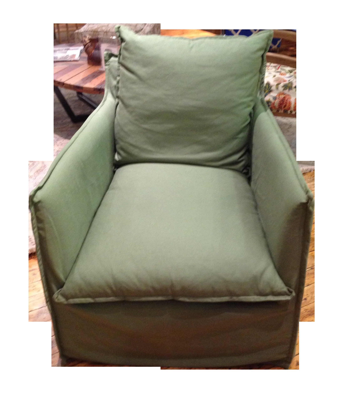 Lee Industries Green Linen Swivel Chair Chairish