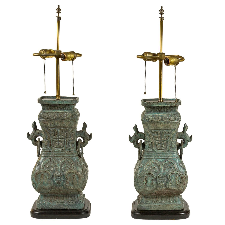 James Mont Style Cast Lamps A Pair Chairish