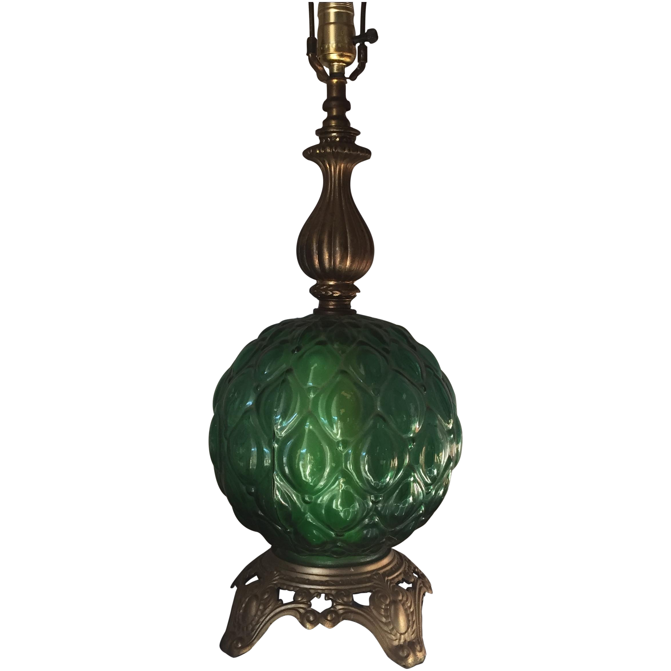 Vintage glass table lamps - Image Of Vintage Green Glass Table Lamp