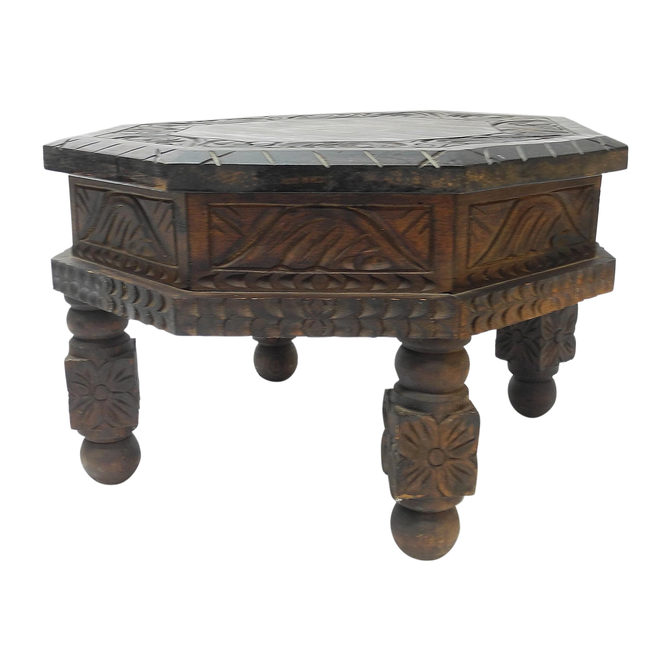 Hand Carved Mexican Drum End Table