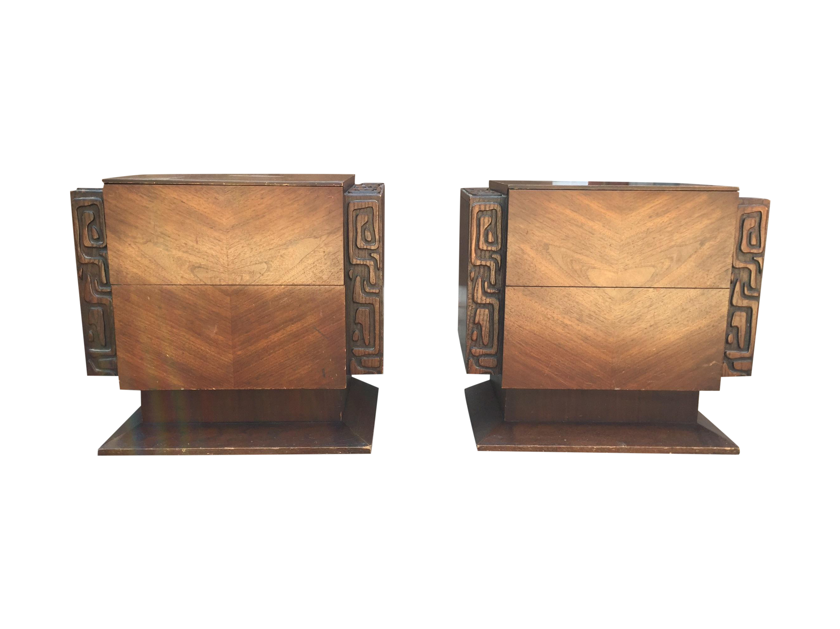 United Furniture Brutalist Side Tables A Pair