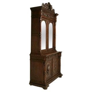 Antique French Carved Oak Hunt Cabinet