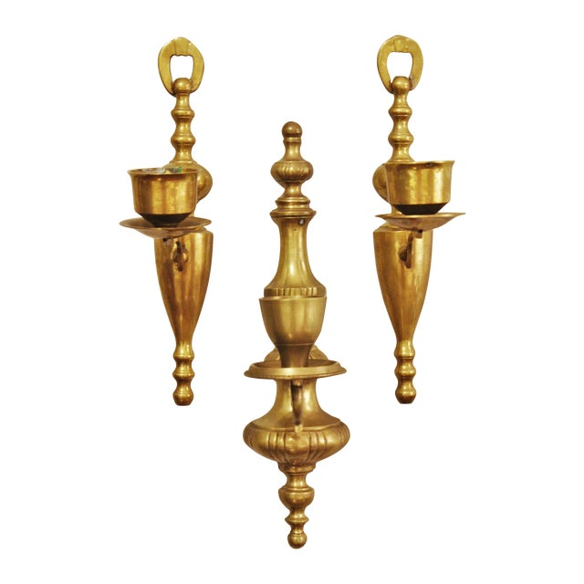 Vintage Brass Wall Sconces - Set of 3 - Image 1 of 6