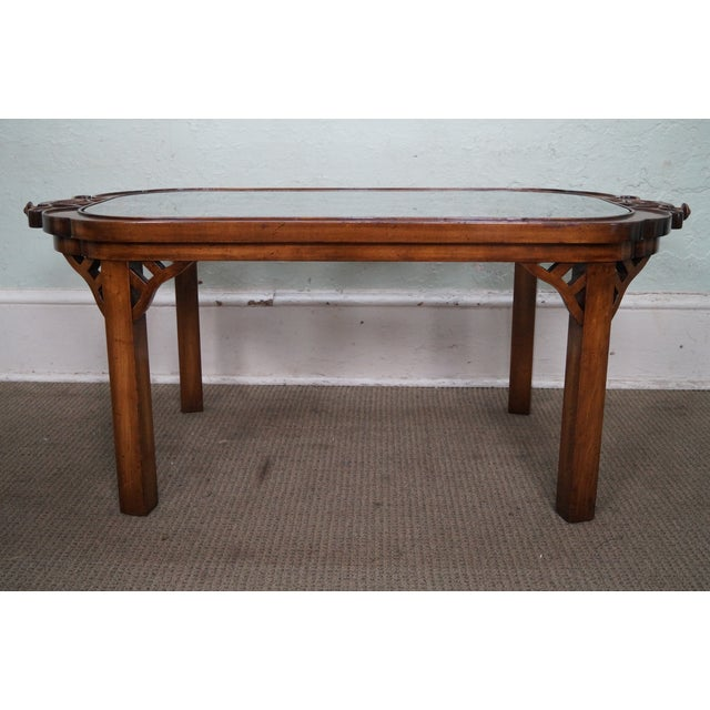 Chinese Chippendale Style Glass Coffee Table Chairish