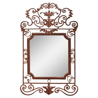 Large French Iron Mirror
