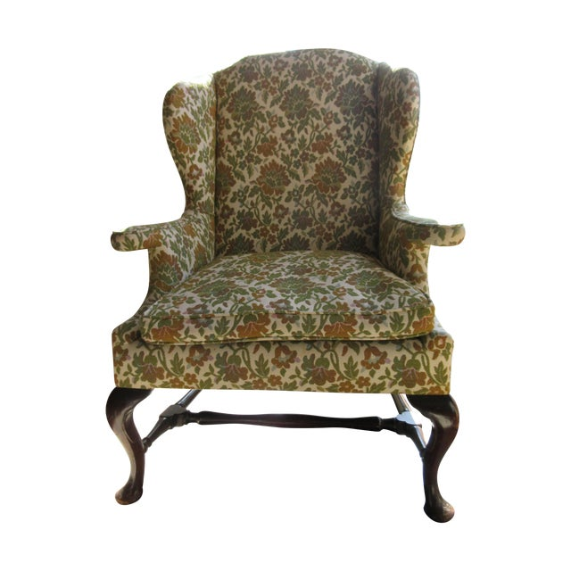 Antique Green & Orange Floral Wing Chair - Image 1 of 8