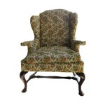 Image of Antique Green & Orange Floral Wing Chair