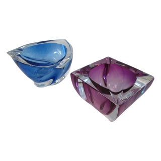 Val St. Lambert Art Glass Crystal Bowls - Pair