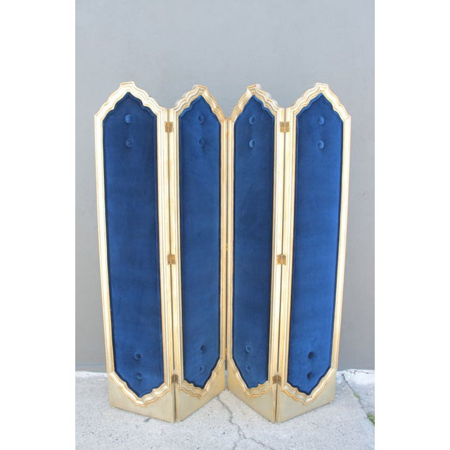 Blue Four Panel Regency Gilded Screen - Image 2 of 5